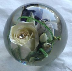 Polymer resin: preserved flower paperweight
