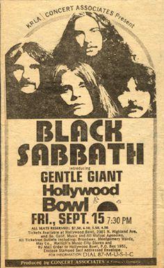 Black Sabbath / Gentle Giant - Concert poster (Hollywood Bowl, USA)