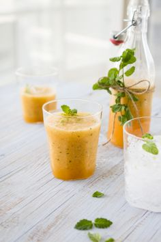 Cantaloupe, Lime and Mint Slushy