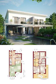 Modernes Doppelhaus mit Pultdach - Grundriss Haus Celebration 131 V6 L vom Bien Zenker