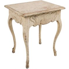 circa 1750  Swedish Rococo Side Table with cabriole legs and hoof feet.
