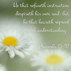 He who refuses correction despises his own soul, but he who listens to reproof gets understanding. -- Proverbs 15:32