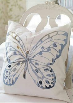 Blue and White ~ Decorative Butterfly Pillow, Rose Garden collection - Katarina Brieditis - Textile Design added gold paint Butterfly Bedroom, Butterfly Pillow, Blue Butterfly, Butterfly Print, Butterfly Decorations, Patch Quilt, Delft, Fabric Painting, Soft Furnishings