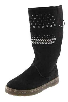 Bearpaw NEW Silverthorne Black Suede Studded Mid-Calf Casual Boots Shoes 6 BHFO