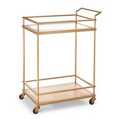 Wood & Glass Gold Finish Bar Cart - Threshold™ : Target