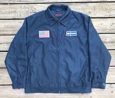 Vintage FORD 80s BOXIN.AOA.JW. Navy Blue Zip-up Rally Racing Jacket Men's L #BOXINAOAJW #BasicJacket