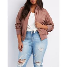 48d3c9e4a6d32 Charlotte Russe Zip-Up Bomber Jacket ( 40) ❤ liked on Polyvore featuring  plus