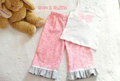 Pajamas Pyjama Set // Capri Ruffled Pant // by RoseAndRuffle