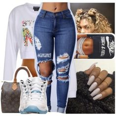 A fashion look from October 2016 featuring stussy sweatshirt, blue jeans and louis vuitton purse. Browse and shop related looks. Tumblr Outfits, Dope Outfits, Classy Outfits, Casual Outfits, Winter Outfits, Teen Girl Outfits, Outfits For Teens, Teen Fashion, Fashion Outfits