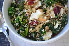 Quinoa salad with kale, cranberries and feta.