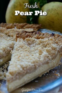 Fresh Pear Pie recipe is loaded with fresh juicy Bartlett pears, has a creamy, custard-like filling, and a crunchy streusel topping. Pear Dessert Recipes, Pie Dessert, Just Desserts, Delicious Desserts, Yummy Food, Healthy Desserts, Dessert Ideas, Healthy Eats, Easy Cherry Cobbler