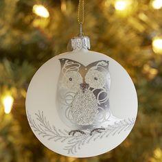 European Glass Silver Owl Christmas Ornament
