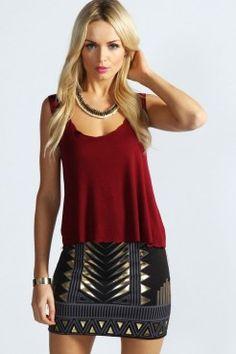 Scarlett Aztec Design Scuba Mini Skirt - Boutique Soirée - Collections