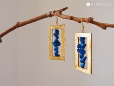 Dolikisthe | paper earrings | cotton paper, imitation Gold Metal Leaf and blue chips | Paper Leaf
