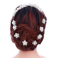 1 Pair Handmade Exqusite Women's White Flower Shape Hair Stick Pins for Wedding Party Hair Jewelry with Pearl Crytsal 5133284 2016 – $2.54