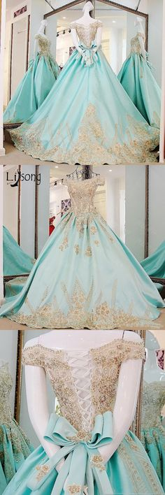 Baby Blue Saudi Arabic Formal Dress To Prom Appliques Bow Vintage Beaded Evening Dresses Boat Neck Lace Up Puffy Ball Gowns