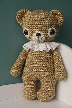 Old fashion crochet teddy bear