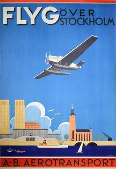 Orignal vintage poster: ABA - Flyg Over Stockholm for sale at posterteam.com by Beckman, Anders (1907-1967)