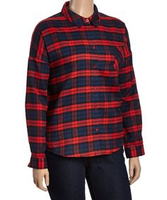 Red & Navy Plaid Button-Up - Plus