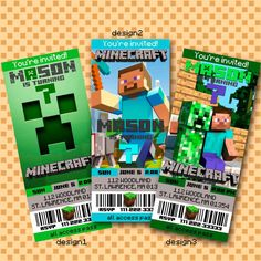 Minecraft Birthday Party Ticket Invitation -Minecraft Invitation, Minecraft Birthday, Minecraft Party, Minecraft Printable