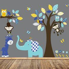 Boy Nursery wall decal jungle decals baby nursery by wallartdesign
