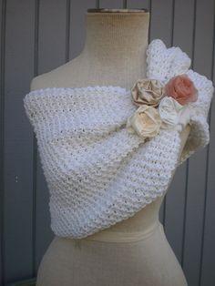 In gray with purple flowers ?!?! may be a good idea..  bridal bolero shurg wedding shawl custom order