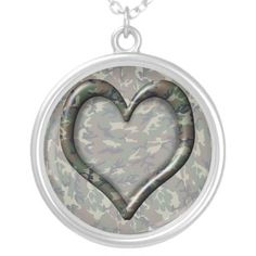 #Camouflage Woodland Forest Heart on Camo Necklace by #Camouflage4you