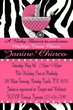 Zebra Baby Shower Invitations And Theme Party