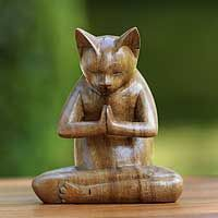 kitty cat prayer wood sculpture