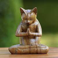 kitty cat prayer wood sculpture