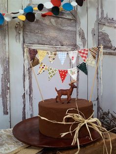 Cake Bunting 1960's Camping Trip Topper on Bakers by BooBahBlue, $20.00