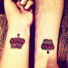 A pair of pink crowns for a couple tattoo. Elegant and beautiful. If you want to feel like the rulers of your own world then this design is perfect for you.