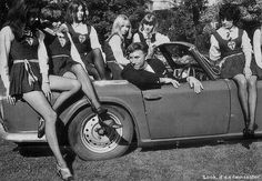 Actor Frankie Howerd and some of the girls of St Trinians school Short Skirts, Mini Skirts, St Trinians, 1980s Pop Culture, Classic Cars British, British Schools, Swinging London, Car Themes, Skirts