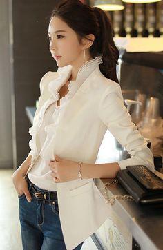 Morpheus Boutique  - White Ruffle Suit Bow Long Sleeve Jacket, CA$185.08 (http://www.morpheusboutique.com/new-arrivals/white-ruffle-suit-bow-long-sleeve-jacket/)
