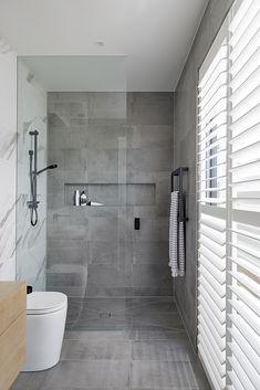 Bathroom Colors, White Bathroom, Modern Bathroom, Master Bathroom, Bathroom Ideas, Gray Tile Backsplash, Grey Wall Tiles, Traditional Sheds, Ashford House