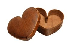 """Early 19th c. """"Valentine"""" heart box, cherry, pine, carved lid with slightly raised surface, wooden pegged to base and top, expertly crafted and in an old patinated surface"""
