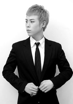 P.O Block B in a suit. Looks very handsome never think he was the maknae in the group here. <3 love him