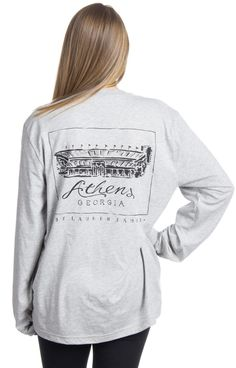 Sanford Stadium come on and raise up! We are crazy about our brand new stadium tees! It's the perfect tee to cheer on the GEORGIA BULLDOGS year round! Model is wearing a MEDIUM! Features - 100% Combed