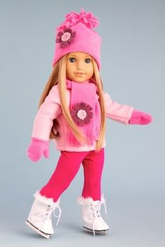 DreamWorld Collections Ice Skating Fun - 6 piece gift set includes pink fleece blouse with stretchy leggings, hat, scarf, mittens and white ice skates - 18 Inch Doll Clothes : Winter Fun Doll Clothing