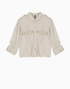 At Stradivarius you'll find 1 Crop shirt with stud detail for just 29.99 United Kingdom . Visit now to discover this and more Clothing.