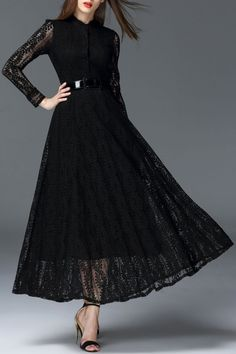 Oserjep Black Openwork Maxi Lace Dress | Maxi Dresses at DEZZAL Click on picture to purchase!