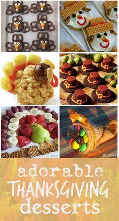 Adorable Thanksgiving desserts:  Chocolate Pretzel Turkeys, Scarecrow Cookies, Turkey Rice Krispie Treats, Pilgrim Hat Cookies, Chocolate Turkey Fondue, Sugar Cone Cornucopia