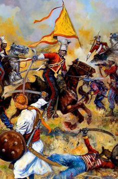 British lancers charging against Sikhs warriors
