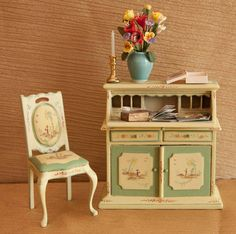 Vintage, Dollhouse Miniature, 1:12 scale, Desk, Chair, Flowers, Stationary, Magazines and more by LaBelleEpoqueBoudoir