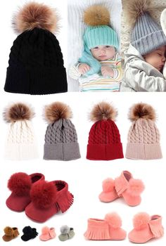 Pompom Beanie & Mocs: Classy + adorable, Great for boys or girls!