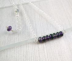 Amethyst Stone Necklace, February Birthstone Jewelry, Silver Necklace for Women, Womens Choker Necklace, Silver Chain Necklace, Bar Necklace