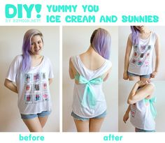 Tutorial: No-Sew Tank with Yummy You! Here's the second of two DIYs I did with Yummy You's super comfy Ice Cream and Sunnies Tee! A really simple, nifty trick if you want to make a more form-fitted shirt without having to sew anything. :] You can view the tutorial by clicking on the photo or clicking here, and you can view the first tutorial here~ It was super fun working with you on this Twinkie Chan, thanks so much! ♥