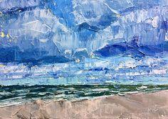 High Clouds, North Beach by maggie capettini Oil ~ 5 x 7