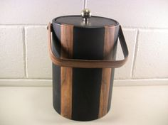 Vintage Ice Bucket Vintage Barware Mid Century Barware Insulated Ice Bucket Bartender Tools Bar Equipment Mid Century Decor Black Woodgrain by Eclectiques Boutique