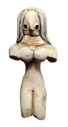 Indus Valley Mehrgarh terracotta female figure, 3000-2500 B.C. Sepicted seated, her features simplified with wide, round eyes and large nose, multi-layered wig or headdress falling onto her shoulders and wearing a broad collar of multiple strands with central pendant over her enormous breasts, 9.5 cm high. Private collection